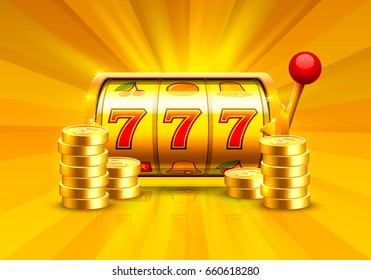 Golden slot machine wins the jackpot. Piles of gold coins. Vector illustration isolated on orange background