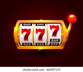 Golden slot machine wins the jackpot. isolated on black background. Vector illustration