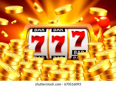 Golden slot machine wins the jackpot. Piles of gold coins. Vector illustration isolated on blue background