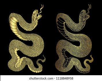 Golden snake cobra tattoo.Hand drawn snake vector Illustration on black background.Gold snake vector.