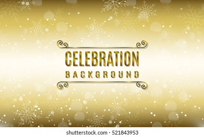 Golden snow flake winter season background. new year seasonal layout invitation poster. business abstract concept. Vector decorative greeting card. sale flyer for marketing advertisement design
