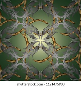 Golden snowflake simple ornamental pattern. Abstract wallpaper, wrapping decoration. Symbol of winter, Merry Christmas holiday, Happy New Year 2019. Vector golden pattern on green, gray colors.
