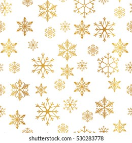Golden snowflake simple seamless pattern. Abstract wallpaper, wrapping decoration. Symbol of winter, Merry Christmas holiday, Happy New Year celebration Vector illustration.