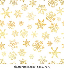 Golden snowflake simple seamless pattern. Abstract wallpaper, wrapping decoration. Symbol of winter, Merry Christmas holiday, Happy New Year celebration Vector illustration