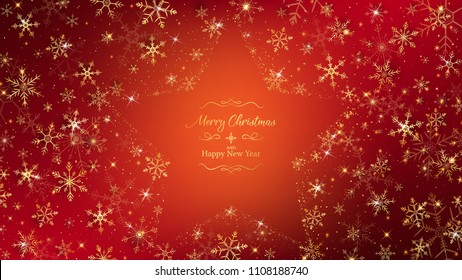 Golden snowflakes around on artwork all of surface lay down gold glitters except middle leave space as a star shape. lettering text get the same theme in luxury sparkling.