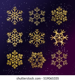 Golden Snowflakes set. Winter holidays decoration. Starry night sky. Gold snow flakes vector collection.