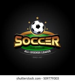 Golden Soccer logo. Football badge design template, sport logotype.Themed T shirt. Isolated Vector illustration.