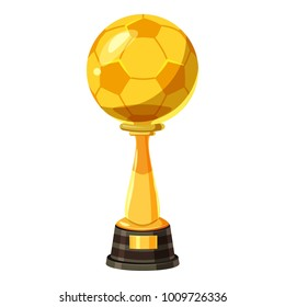 Golden soccer trophy cup icon. Cartoon illustration of vector icon for web