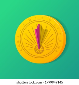 Golden solar dial with shadow. Ancient sundial clock with roman numbers. Time measuring, punctuality, astrology concept flat vector illustration on green background.