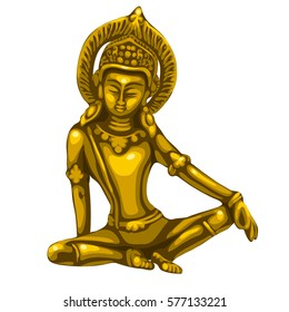 Golden souvenir in the form of buddhist statuette isolated on white background. Cartoon vector illustration close-up.