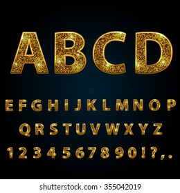 Golden  sparkle, glitter, rhinestone alphabet letters numbers and signs currency