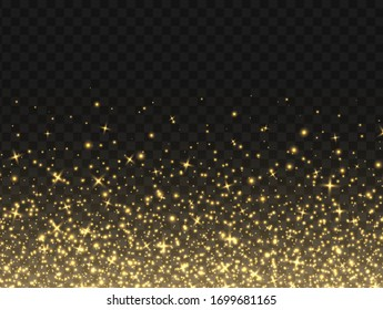 Golden sparkles, abstract luminous particles, yellow stardust isolated on a dark background. Flying Christmas glares and sparks. Luxury backdrop. Vector illustration.