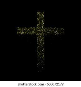 Golden sparkles cross shape
