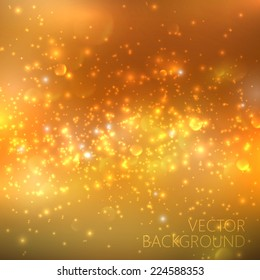 Golden sparkling background with glowing sparkles and glitter. Shiny holiday illustration