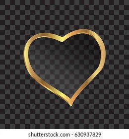 Golden sparkling heart .  vector illustration.