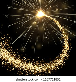 Golden sparkling petard or firework on black background. Festive decoration. Vector poster.