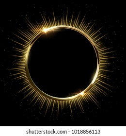 Golden sparkling ring with rays and glitter isolated on black background. Vector golden frame.
