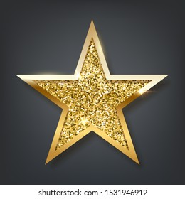 Golden sparkling star isolated on dark background. Vector design element