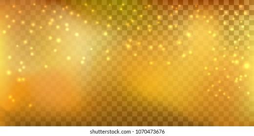 Golden sparkling transparent shiny glitter vector illustration gradient mesh background.