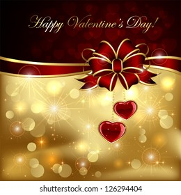 Golden sparkling valentines background with hearts and bow, illustration.