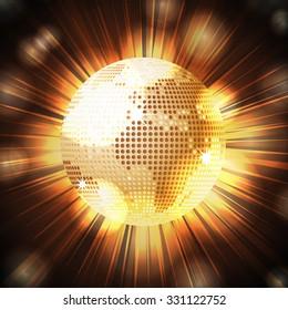 Golden Sparkling World Globe Over Glowing Light Explosion