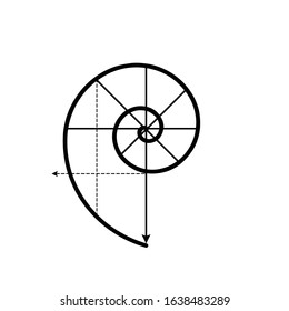 Golden Spiral. Golden Ratio vector logo. Fibonacci Spiral. Minimalist Golden Ration