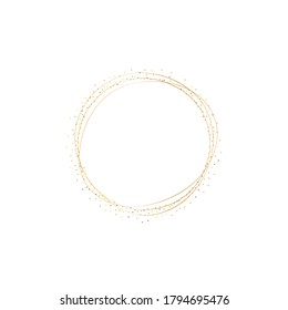 Golden splash or glittering spangles frame with empty center for text. Golden glittering circle made of tiny round dots on white background. Vector illustration.