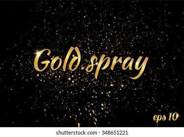 Golden splashes on black background, sparkles. Gold text for card, vip, exclusive, certificate, gift, luxury, privilege, store, present, shopping. vector. gold spray lettering