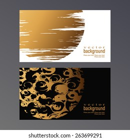Golden spots and patterns on a white and black background. Vector template for a business card.