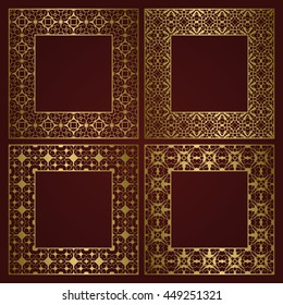 Golden square frames set of traditional ornament borders.