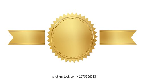 Golden stamp with horizontal ribbons isolated on white background. Luxury seal. Vector design element