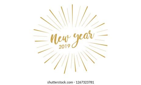 golden star burst new year 2019 card text vector design illustration