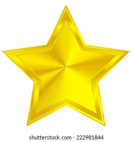 Golden star with conical gradient with bevel effect
