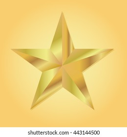 Golden star geometric 3d icon. Modern style. Vector illustration. Elegant symbol of achievements and victories. Symbol for web or print design. Product quality rating isolated on gold background.