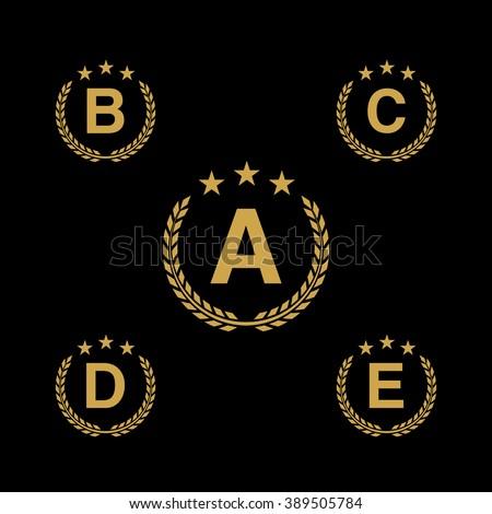 d6d8abd1 Golden star Laurel wreath logo icon with capital alphabet letters. Design  template elements - Letter A, B, C, D, E - Vector