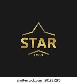 Golden Star logo on the black background. Vector illustration