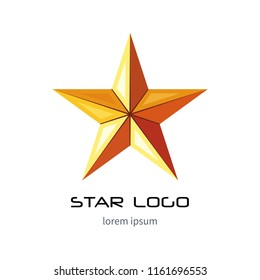 Golden star logo template. Yellow millitary icon. 3d style vector.