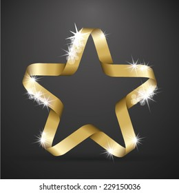 Golden star made from ribbon