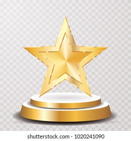 golden star on colden podium, vector template for show business or champions sucess