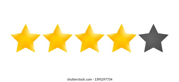 Golden Star rating. Customer product review  cartoon icon for apps and websites. Four stars