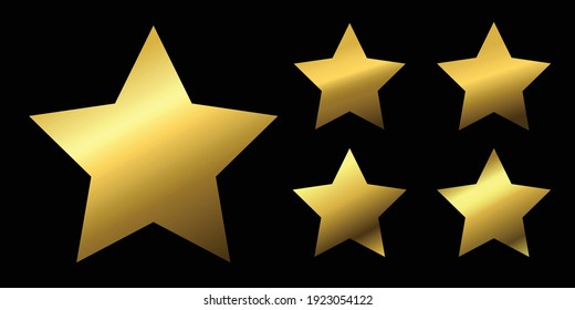 Golden star. Set of golden stars on black background. Gold, gradient. Vector illustration
