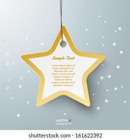 Golden star shopping mark on the grey background. Eps 10 vector file.