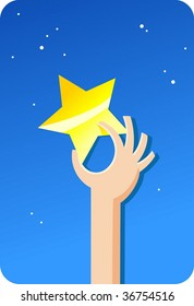Golden star, sky and human hand.