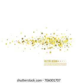 Golden star swirl. Abstract vector background with starry.