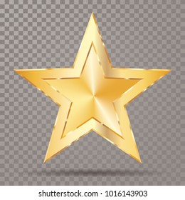 golden star with transparent shadow, vector template for show business or something else