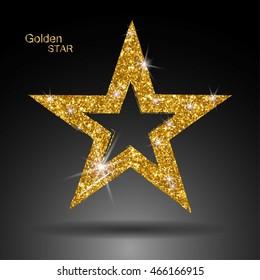 Golden star vector banner. Gold glitter star. Gold template star for banner, card, vip, exclusive, certificate, gift, luxury, privilege voucher store present shopping