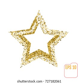 Golden star vector banner on white background. Gold glitter star. For banner, card, vip, exclusive, certificate, gift, luxury, privilege, voucher, store, present, shopping