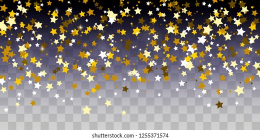 Golden starry confetti on transparent background
