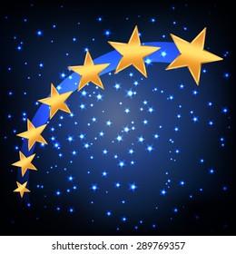 golden stars flying over blue night starry background. vector