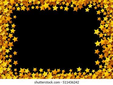 Golden stars glitter scattered in celebration card